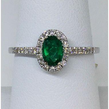 14k White Emerald & Diamond Halo Ring