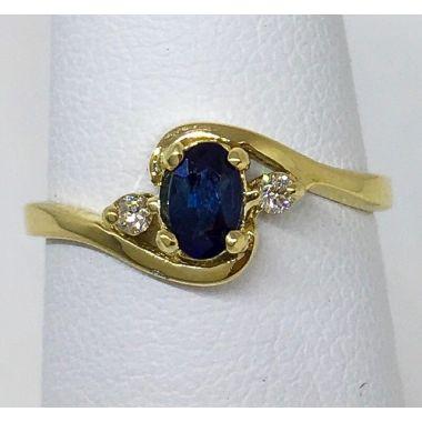 14k Yellow Sapphire & Diamond Ring