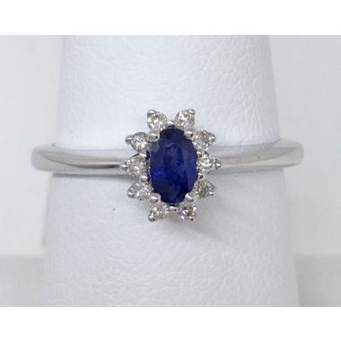 "14k White Gold 5x3 ""A"" Oval Sapphire & Diamond Ring"