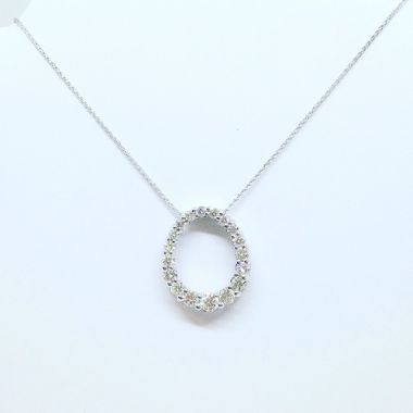 14k White Gold 1.00 Carat Diamond Oval Pendant w/ 14k White Gold 18 inch necklace