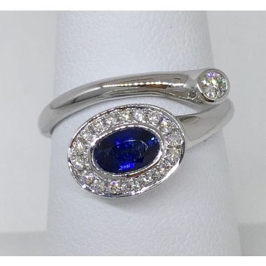 14k White Diamond & Sapphire Fashion Ring