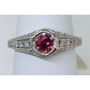 14k White Gold Modern Antiqued Diamond Ring Set with Berma AA Ruby