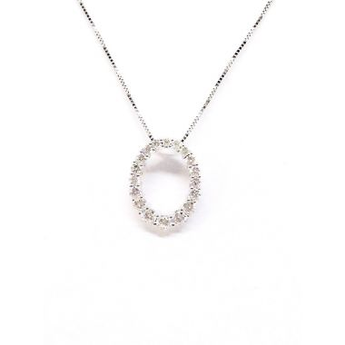 14k White Gold .50 Carat Diamond Oval Pendant
