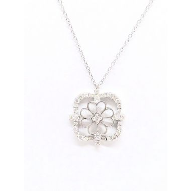 14k White Gold .35 Carat Diamond Pendant w/ Necklace