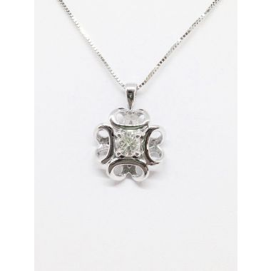 14k White Gold .24 Carat Diamond Pendant