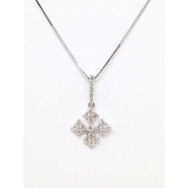 14k White Gold .37 Carat Diamond Snowflake Pendant