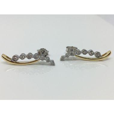 14k Yellow/White Gold Diamond Fashion Earrings