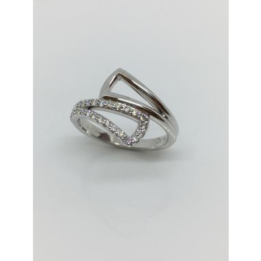 14k White Gold Bypass Diamond Fashion Ring