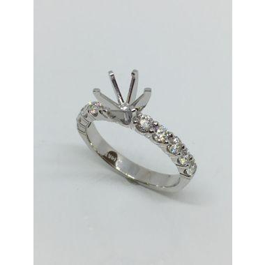 14k White Gold 3/4 Carat Straight Diamond Engagement Ring Semi-Mount