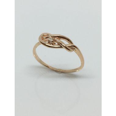 14k Rose Gold infinity Ring (.03ctw)