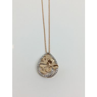 14k Rose/White Gold 1/4CTW Diamond Fashion Pendant w/ Chain