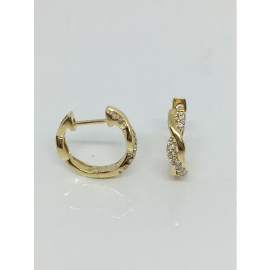 14k Yellow Gold 1/5CTW Diamond Twist Earrings