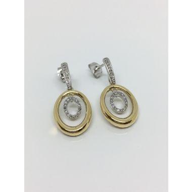 14k Two Tone Dangle Diamond Fashion Earrings