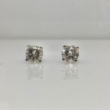 14k white gold diamond stud earring I/J I3 (.58ctw)