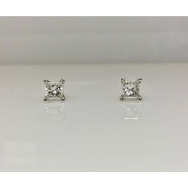 14k white gold princess cut diamond studs 1/2 carat