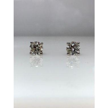 14k white gold diamond stud earrings I/J I1 (.71ctw)