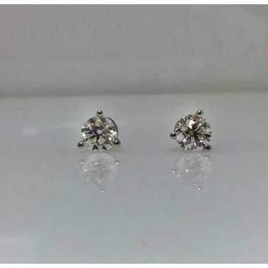 14k white martini style stud earrings H/I SI2 (.71ctw)