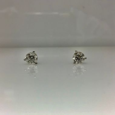 14k white gold martini stud earrings I/J I2 (.91ctw)