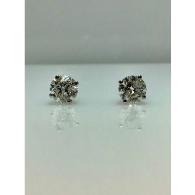14k white gold diamond stud earrings I/J I2 (2.00ctw)