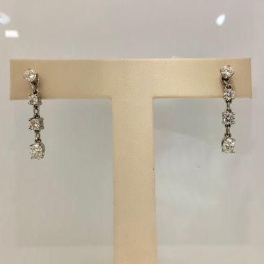 14k white gold dangle diamond earrings (1.51ctw)