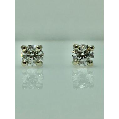 14k white gold diamond stud earrings 1/2 carat E/F SI2 AGS