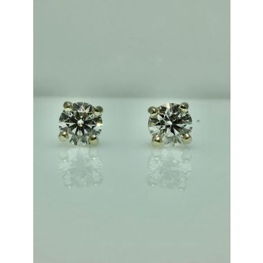 14k white gold diamond stud earrings F-SI1 GIA (.80ctw)
