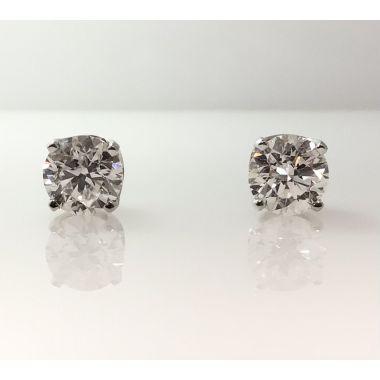 14k white gold diamond stud earrings G-I1 GIA (1.40ctw)