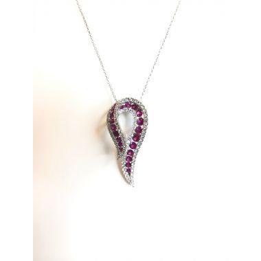 18k White Gold Ruby & Diamond Fashion Pendant 1.41 Carat