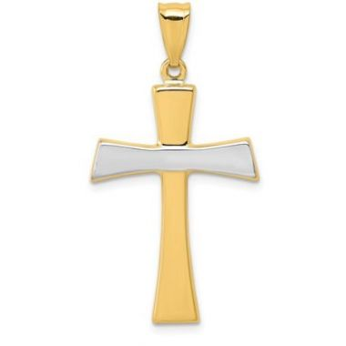 14k And Rhodium Polished Cross Pendant
