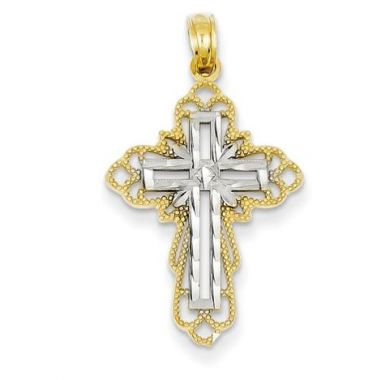 14k With Rhodium Polished And Textured Budded Cross Pendant