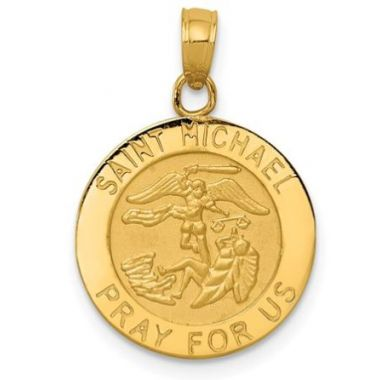 14k Medium Saint Michael Medal Pendant