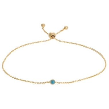 14k Yellow Gold Reversible Turquoise Fashion Bolo Bracelet 9.5""