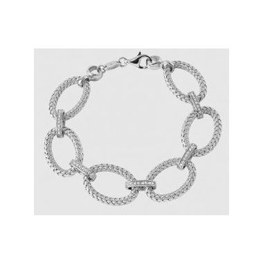 Charles Garnier PALAZZO 925 Sterling Silver Woven Oval Link Bracelet