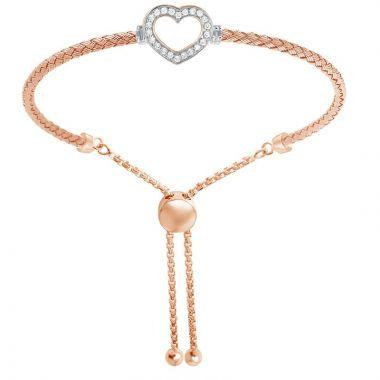 Charles Garnier Sterling Silver Friendship Mesh Bolo Bracelet w/ 18k Rose Gold Finish