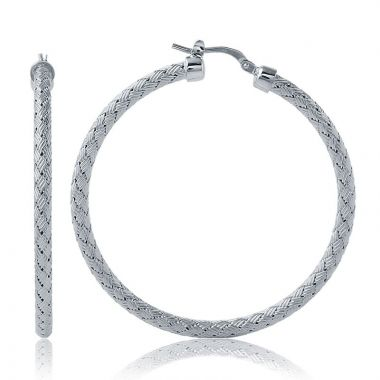 Charles Garnier 45mm Round Sterling Silver Hoop Earrings w/ Rhodium Finish