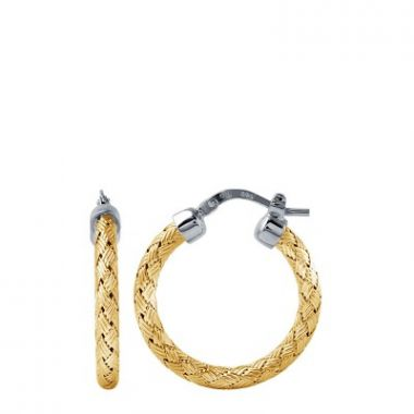 Charles Garnier Sterling 25mm  Hoop With 18k Yellow Gold Finish