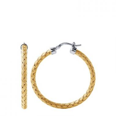 Charles Garnier Sterling 35mm Hoop Earring With 18k Yellwo Gold Finish