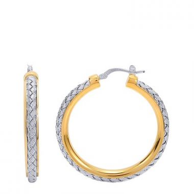 Charles Garnier 35mm Sterling Mesh Hoop Earrings With Rhodium Finish