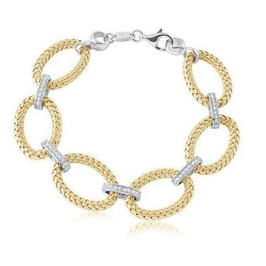 Charles Garnier PALAZZO 925 Sterling Silver Woven OVal Link Bracelet Yellow Gold Finish