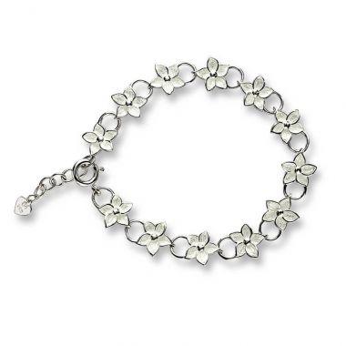 """New"" Nicole Barr Sterling Silver Stephanotis Floral Bracelet-White"