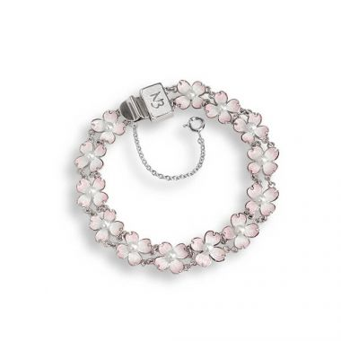 Sterling Silver Dogwood Bracelet-White. Freshwater Pearl