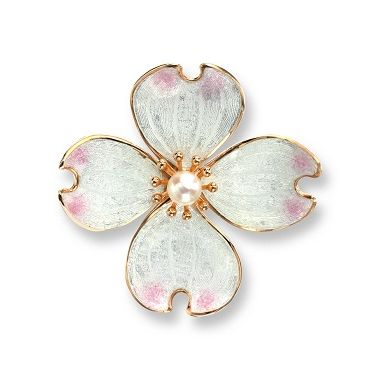 Rose Gold Plated Sterling Silver Dogwood Brooch-White. Akoya Pearl