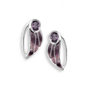 Sterling Silver Contoured Leaf Stud Earrings-Purple. Amethyst.