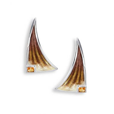 Nicole Barr Sterling Silver Stud Earrings-Brown. Citrine
