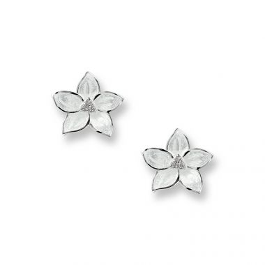 Sterling Silver White Stephanotis Stud Earrings. White Sapphires.