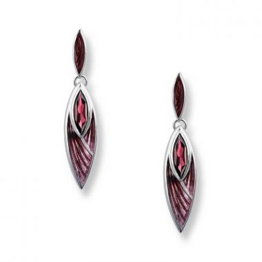 Nicole Barr Sterling Silver Pinnacle Earrings-Lavendar, Rhodolite