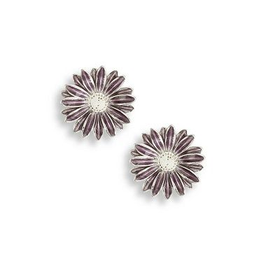 Nicole Barr Sterling Silver Purple African Daisy Stud Earrings