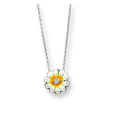 Nicole Barr White Sapphire - Sterling Silver White Daisy Necklace