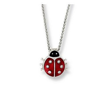 Diamond-Sterling Silver Red Ladybug Necklace