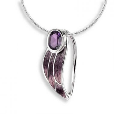 Sterling Silver Contoured Leaf Necklace-Purple. Amethyst.